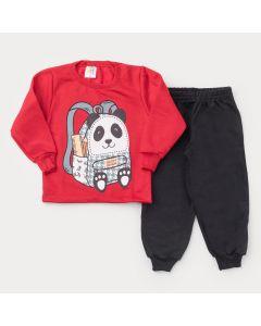 Conjunto de Inverno para Menino Casaco Vermelho Panda e Calça Preta