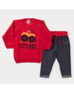 Conjunto de Frio para Menino Casaco Vermelho Trator e Calça Cotton Jeans Preta
