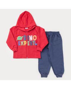 Conjunto de Inverno para Menino Jaqueta Vermelha Dino com Zíper e Calça Marinho