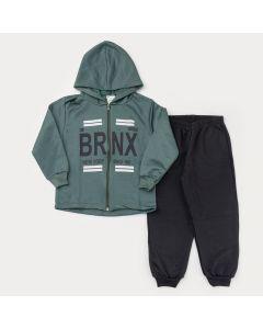 Conjunto de Inverno para Menino Jaqueta Verde Estampada com Capuz e Calça Preta