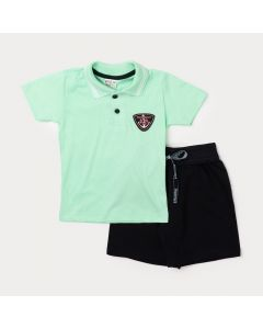 Conjunto para Menino Camiseta Gola Polo Verde e Bermuda Preta