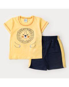 Conjunto com Blusa Amarela Leãozinho e Short em Moletinho Marinho