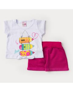 Conjunto com Blusa Branca Estampada com Amarração e Short Pink para Menina