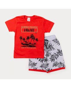 Conjunto Infantil Camiseta Masculina Laranja e Bermuda Cinza Estampada