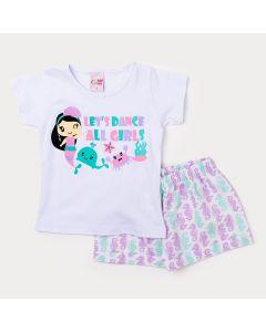 Conjunto de Roupa Infantil Feminino Blusa Branca e Short Curto Estampado