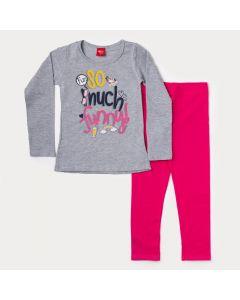 Conjunto de Roupa para Menina Blusa Cinza Manga Longa Estampada e Legging Rosa
