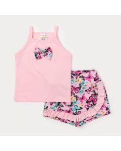 Conjunto Infantil Feminino Blusa de Alcinha Rosa com Laço e Short Estampado