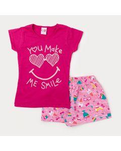 Conjunto Blusa Pink Infantil e Short Rosa Estampado Feminino