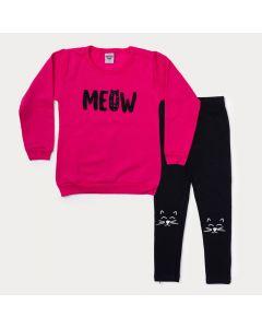 Conjunto de Inverno Infantil Feminino Blusa Pink Estampada e Calça Preta