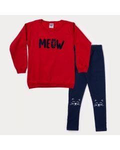 Conjunto de Inverno Infantil Feminino Blusa Vermelha Estampada e Calça Marinho