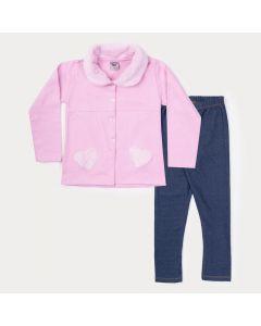 Conjunto Infantil de Inverno Feminino Casaco Rosa com Pelo e Legging Marinho