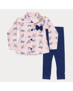 Conjunto de Roupa para Menina Casaco em Soft Rosa Estampado e Legging Marinho