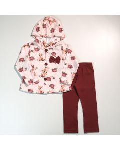 Conjunto Infantil Feminino Casaco com Capuz em Soft Rosa e Legging Vermelha
