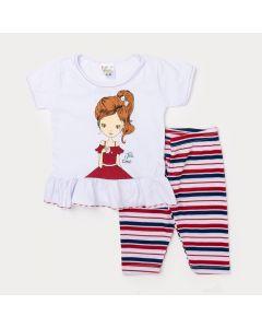 Conjunto de Menina Blusa Branca Estampada e Legging Capri Listrada