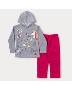 Conjunto de Moletom Infantil Feminino Casaco Cinza Unicórnio e Calça Pink