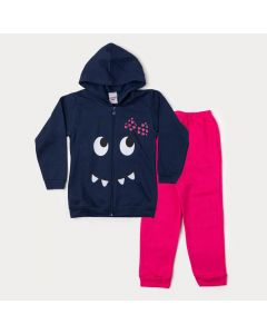 Conjunto Infantil Feminino para Inverno Jaqueta Marinho Monstrinho e Calça Pink