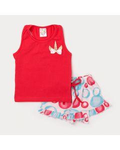 Conjunto para Menina Regata Pink com Lacinho e Short Rosa Estampado