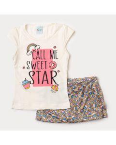 Conjunto Infantil Feminino Short Saia Cupcake e Blusa Marfim Estampada