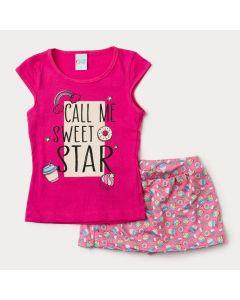 Conjunto Infantil Feminino Short Saia Rosa Cupcake e Blusa Pink Estampada