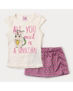 Conjunto Infantil Feminino Short Saia Rosa e Blusa Marfim de Unicórnio