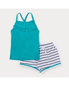 Conjunto Infantil Feminino Verão Blusa Alcinha Verde Água e Short Branco Listrado