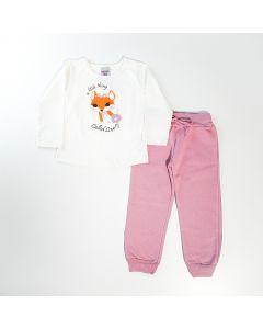 Conjunto de Inverno para Menina Blusa Marfim Raposa e Calça Rosa em Moletom