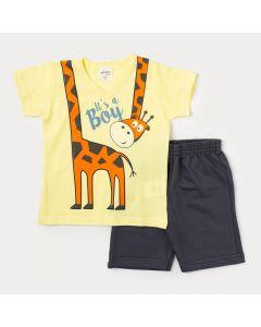 Conjunto Infantil Masculino Camiseta Amarela Girafa e Bermuda Cinza