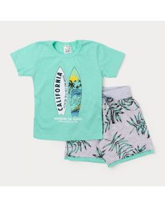 Conjunto Menino Camiseta Verde Surf e Bermuda Cinza Estampada