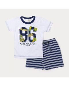 Conjunto de Menino Camiseta Branca Numeral e Bermuda Listrada Marinho