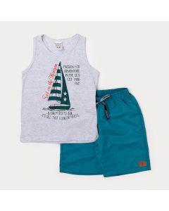 Conjunto Infantil Regata Masculina Cinza Barco e Bermuda Verde