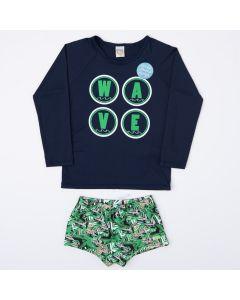 Conjunto Infantil Masculino com Proteção UV Blusa Marinho e Sunga Verde