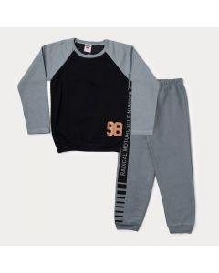 Conjunto de Inverno para Menino Blusa Preta e Calça Cinza com Listra