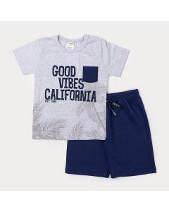 Conjunto Infantil Masculino Camiseta Cinza com Bolso e Bermuda Azul Marinho