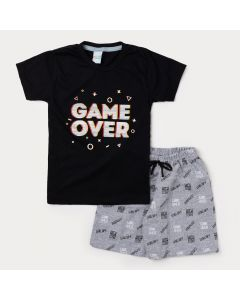 Conjunto Infantil Masculino Camiseta Preta Game e Bermuda Cinza Estampada