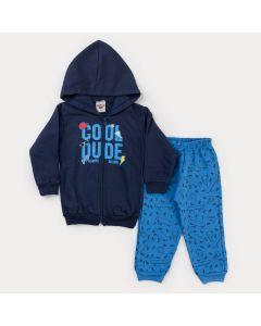Conjunto de Inverno Menino Jaqueta com Capuz Marinho e Calça Azul Skate