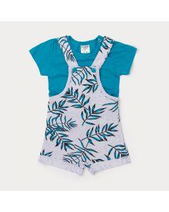 Jardineira para Bebê Menino Cinza Estampada com Camiseta Verde