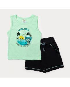 Conjunto Infantil Menino Regata Verde Estampada e Bermuda Preta com Bolso