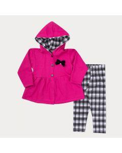 Conjunto de Frio para Menina Casaco Pink com Lacinho e Legging Preta Xadrez