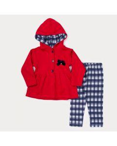 Conjunto de Frio para Menina Casaco Vermelho com Lacinho e Legging Marinho Xadrez