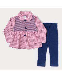 Conjunto Infantil Feminino Casaco Rosa com Bolinha e Legging Marinho