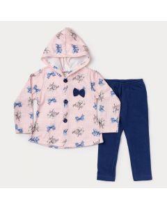 Conjunto Infantil Feminino Casaco com Capuz em Soft Rosa e Legging Marinho