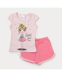 Conjunto de Roupa para Menina Blusa Rosa Claro Estampada e Short Rosa