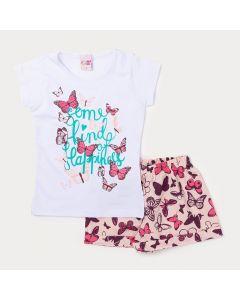 Conjunto de Roupa de Verão Menina Short Rosa de Borboleta e Blusa Branca