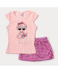 Conjunto de Verão Infantil Feminino Blusa Salmão e Short Saia Branco com Bolinhas