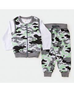 Conjunto de Frio 3 Peças para Menino Blusa Branca Urso Colete e Calça Militar Cinza