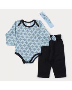 Conjunto de Inverno Bebê Menina Body Azul Claro e Calça Preta com Faixa de Cabelo