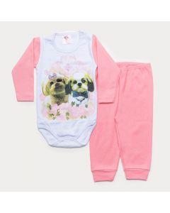 Conjunto de Inverno Bebê Menina Body Branco Manga Longa Cachorrinhos Calça Rosa