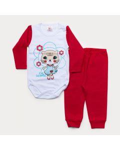 Conjunto de Inverno Bebê Menina Body Branco Manga Longa Gatinha Calça Vermelha