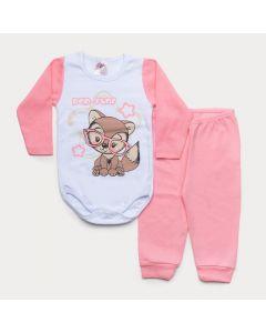 Conjunto de Inverno Bebê Menina Body Branco Manga Longa Raposa Calça Rosa