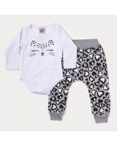 Conjunto de Frio Bebê Menina Body Branco Oncinha e Calça Cinza Estampada